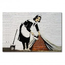 Leinwandbild Banksy No.19 - Leinwand - Weiß / Schwarz, Wandbilder XXL