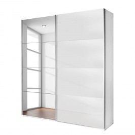Schwebetürenschrank Quadra (Spiegel) - Alpinweiß / Glas Weiß - Breite x Höhe: 136 x 230 cm, Rauch Packs