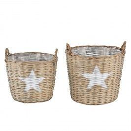 Korb Stella Star (2-teilig) - Rattan / Kunststoff - Beige, Pure Day