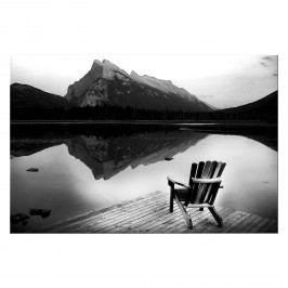Bild Lakeview Lonely - Leinwand - Schwarz / Weiß, Wandbilder XXL