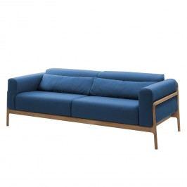 Sofa Fawn (3-Sitzer) Webstoff - Eiche - Stoff Ever Dunkelblau, Gazzda