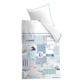 Bettwäsche Rivièra Maison Sylt Beach - Baumwollstoff - Weiß / Blau - 200 x 220 cm + 2 Kissen 80 x 80 cm, CAPESIDE Westcoast
