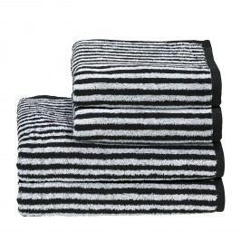 Handtuchset Day Stripes II (4-teilig) - Baumwollstoff - Weiß / Schwarz, mooved