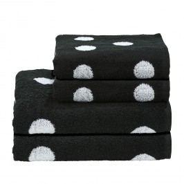 Handtuchset Day Dots (4-teilig) - Baumwollstoff - Weiß / Schwarz, mooved