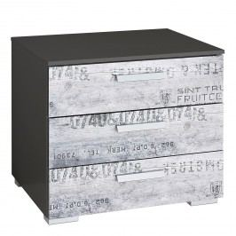 Nachtkommode Sumatra - Vintage Grau / Dunkelgrau - 49 cm, Rauch Select