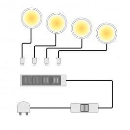 EEK A+, LED-Unterbauspots Across (4-teilig), Fredriks