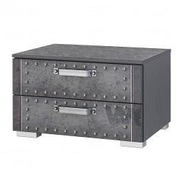 Nachtkommode Workbase I - Industrial Print Optik/Graphit, Rauch Select