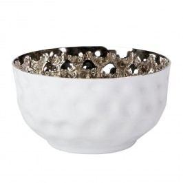 Schale White Shiny - Aluminium - Weiß / Nickel, Wittkemper Living