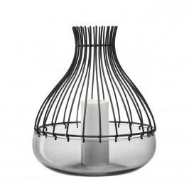Schale Giardino (mit Aufsatz) - Glas / Metall - Schwarz - 35, Leonardo