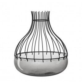Schale Giardino (mit Aufsatz) - Glas / Metall - Schwarz - 29, Leonardo