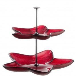 Etagere Rosso - Glas / Metall - Kirschrot, Leonardo