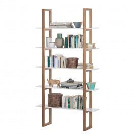 Bücherregal Store - Eiche teilmassiv - Weiß, Morteens