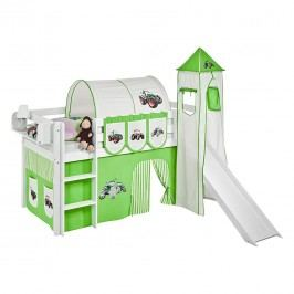 Spielbett JELLE Trecker Grün - Hochbett LILOKIDS - mit Turm und Rutsche und Vorhang - weiß - 90 x 190 cm, Lilokids