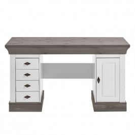 Schreibtisch Bergen - Kiefer massiv - Weiß / Grau, Maison Belfort