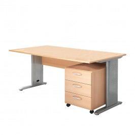 Büro-Set Tomas VI (2-teilig) - Buche Dekor, Wellemöbel