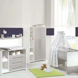 Babyzimmer Eco Silber (3-teilig) - Weiß/Pinie-Silber Dekor, Schardt