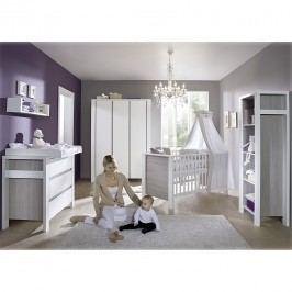 Babyzimmer Milano - Pinie Silber Dekor/Weiß - mit 3 trg. Schrank, Schardt