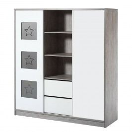 Kleiderschrank Eco Star - Driftwood Dekor/Weiß, Schardt