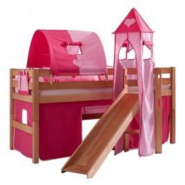 Spielbett Eliyas - mit Rutsche, Vorhang, Tunnel, Turm und Tasche - Buche natur/Textil pink-herz, Relita