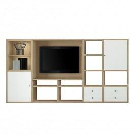 EEK A+, TV-Wand Emporior I - inkl. Beleuchtung - Weiß / Eiche Dekor, Fredriks