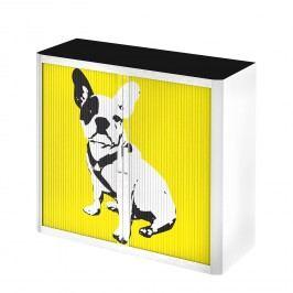 Rollladenschrank easyOffice Pop Art Dog - Weiß / Gelb, easy Office und Paperflow