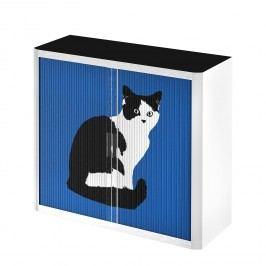 Rollladenschrank easyOffice Pop Art Cat - Weiß / Blau, easy Office und Paperflow