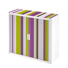 Rollladenschrank easyOffice Rayures - Lila / Weiß - 104 cm, easy Office und Paperflow