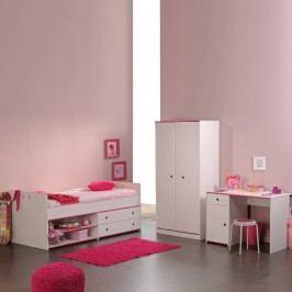 Kinderzimmer Smoozy (3tlg.) - Kleiderschrank, Stauraum-Bett & Schreibtisch - Drehbare Kanten (Rosa/Blau), Parisot Meubles