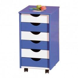 Rollcontainer Paco - Blau/Weiß mit 6 Schubladen, home24