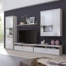 Wohnwand Arco I (5-teilig) - Hochglanz Weiß / Grau, loftscape