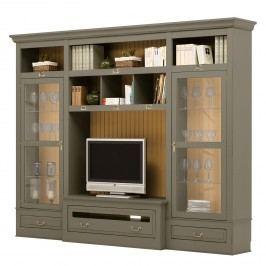 TV-Wand Azjana II - Pinie teilmassiv - Granit / Pinie Honig - Ohne Leiter, Maison Belfort