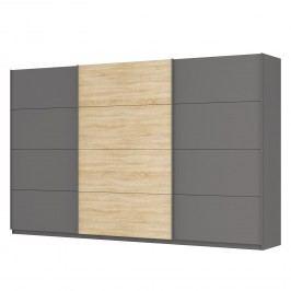 Schwebetürenschrank SKØP - Graphit / Eiche Sonoma Dekor - 360 cm (3-türig) - 222 cm - Comfort, SKØP