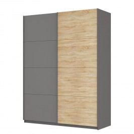 Schwebetürenschrank SKØP - Graphit / Eiche Sonoma Dekor - 181 cm (2-türig) - 236 cm - Comfort, SKØP