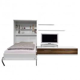 Schrankbett-Kombination Majano - 140 x 205 cm - Bonellfederkernmatratze - Weiß / Nussbaum Dekor, Fredriks