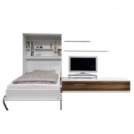 Schrankbett-Kombination Majano - 110 x 205cm - Kaltschaummatratze - Weiß / Nussbaum Dekor, Fredriks
