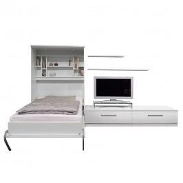 Schrankbett-Kombination Majano - 110 x 205cm - Schaumstoffmatratze - Weiß, Fredriks
