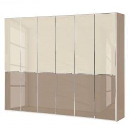 Drehtürenschrank Chicago I - Glas Magnolie / Glas Sahara - 300 cm (6-türig) - 236 cm, Wiemann