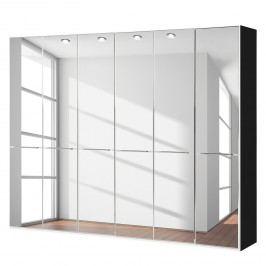Drehtürenschrank Chicago I - Schwarz / Spiegelglas - 300 cm (6-türig) - 236 cm, Wiemann