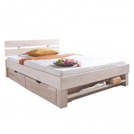 Futonbett Julia (optional Bettkästen) - Buche massiv - White Wash - 90 x 200cm - 2 Bettkästen & Regal, Relita