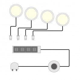 EEK A+, LED-Unterbauspot Baltinava / Paxton (4er-Set) - Kalt Weiß, Trendteam
