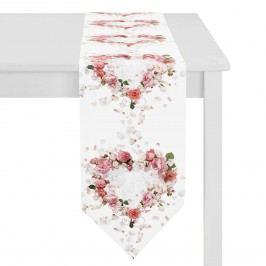Tischband Rosenherz - Weiß / Rosé, Apelt