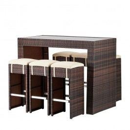 Gartenbar-Set Paradise Lounge (7-teilig) - Polyrattan Braun Meliert, Fredriks