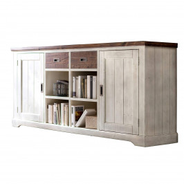 Sideboard Dover Weiß Braun Massivholz
