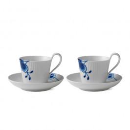 Blue Fluted Mega Tasse 2er Pack 25cl, hoher Henkel