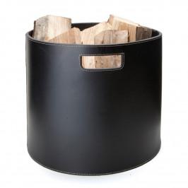 Ørskov Holzkorb rund schwarz mit weißen Nähten