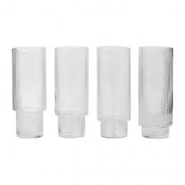 Ripple Longdrink-Glas 4er Pack klar
