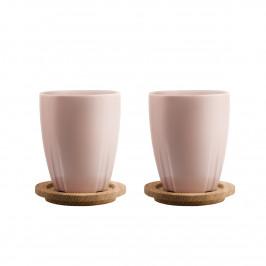 Bruk Tasse mit Holzdeckel 2er Pack hell rosa