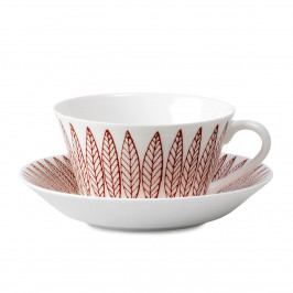 Röd Salix Tee-Set, Kegel Teetasse + Untersetzer