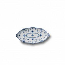 Blue Fluted Half Lace ovaler Teller 24,5cm