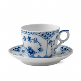 Blue Fluted Half Lace Tasse 17cl